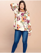 Criss-Cross Lace Detailed Floral Swing Top