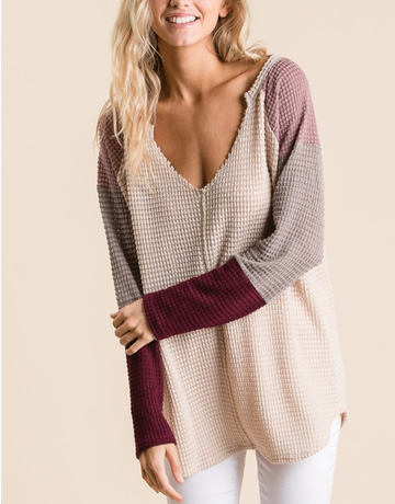 Waffled Top With Colorblocked Sleeves