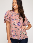 Layered Flutter Sleeve Printed Top