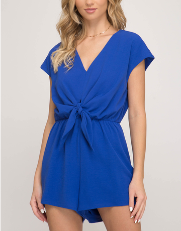 Woven Romper With Tie Detail