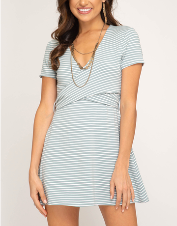 Striped Dress With Back Tie Detail