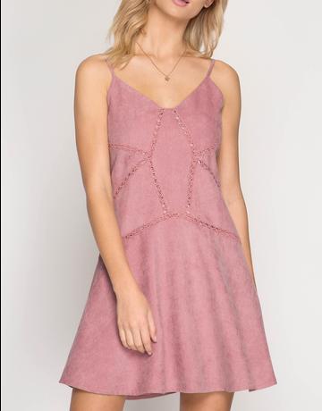 Cami Corduroy Dress With Lace Trim