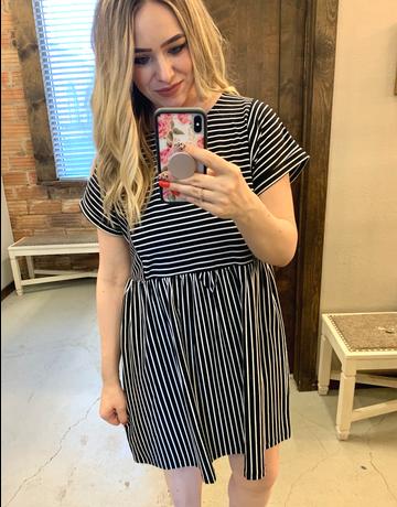Short Sleeve Striped Knit Dress