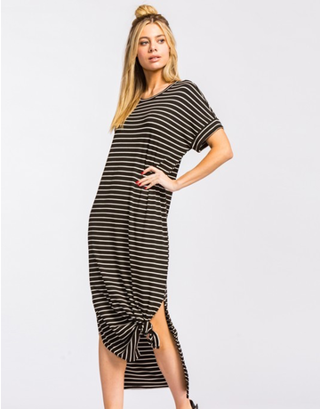 Stripe Ribbed Maxi Dress