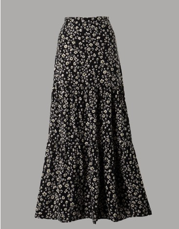 Flower Print Tiered Woven Skirt