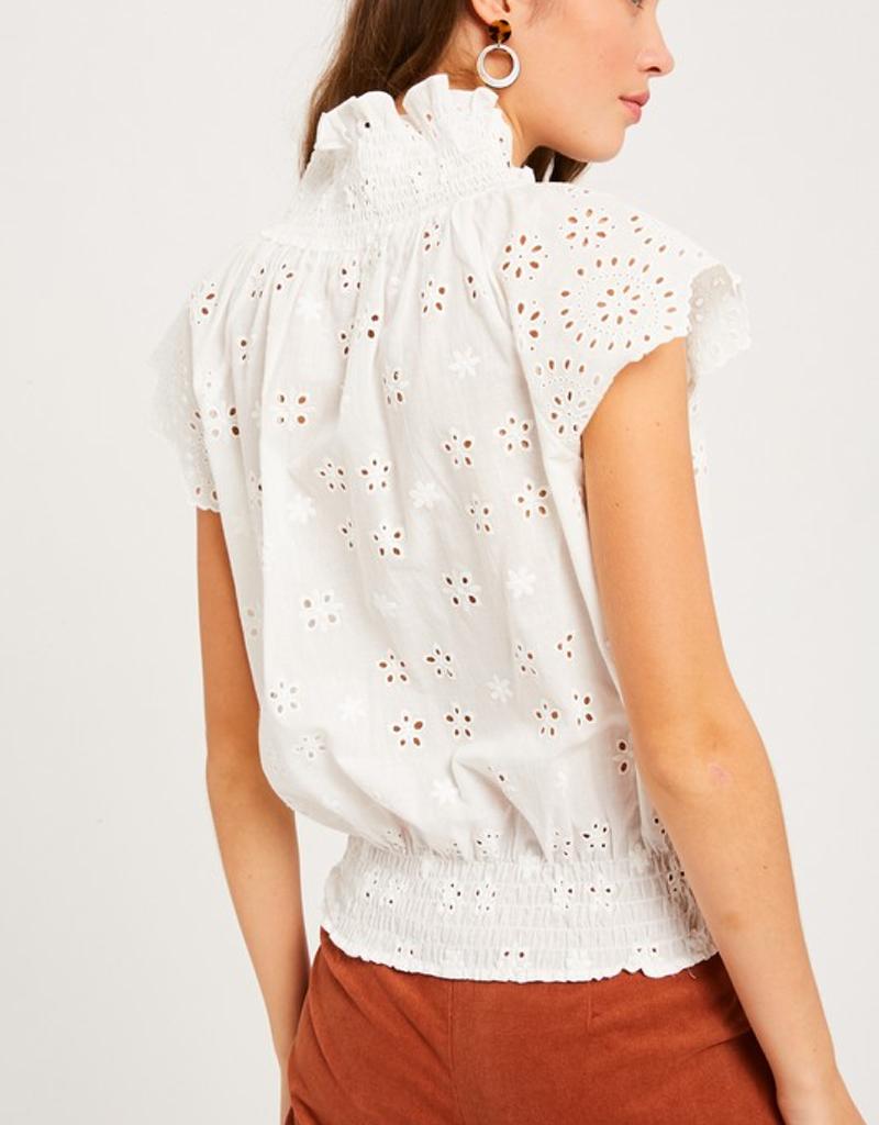 Embroidery Eyelet Cap Sleeve Top