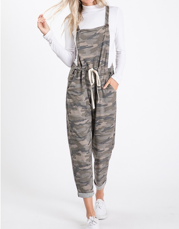 Roll Up Cropped Camo Overalls