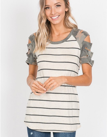 Cut Out Camo Sleeved Top