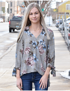 3/4 Sleeve Plaid & Floral Woven Top