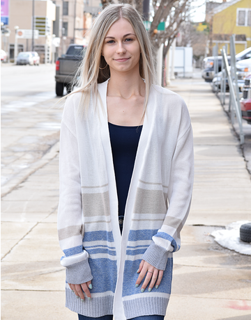 Color Blocked Striped Knit Cardigan
