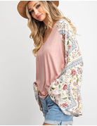 Duo Fabric V-Neck Top