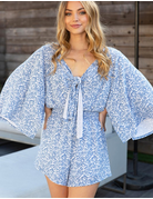 Bell Sleeve Floral Knit Romper