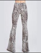 Leopard Print Knit Bell Bottom Leggings