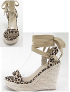 Leopard Ankle Tie Wedges