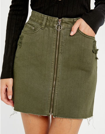 Washed Zip-Up Mini Skirt