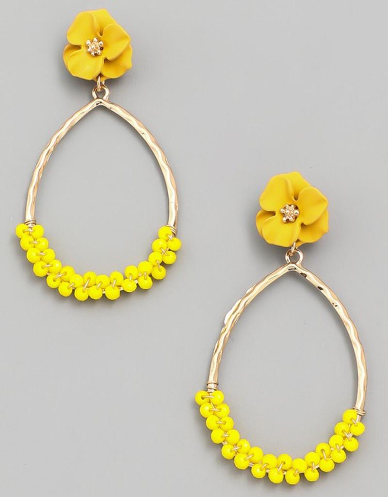 Flower Top Beaded Teardrop Earrings