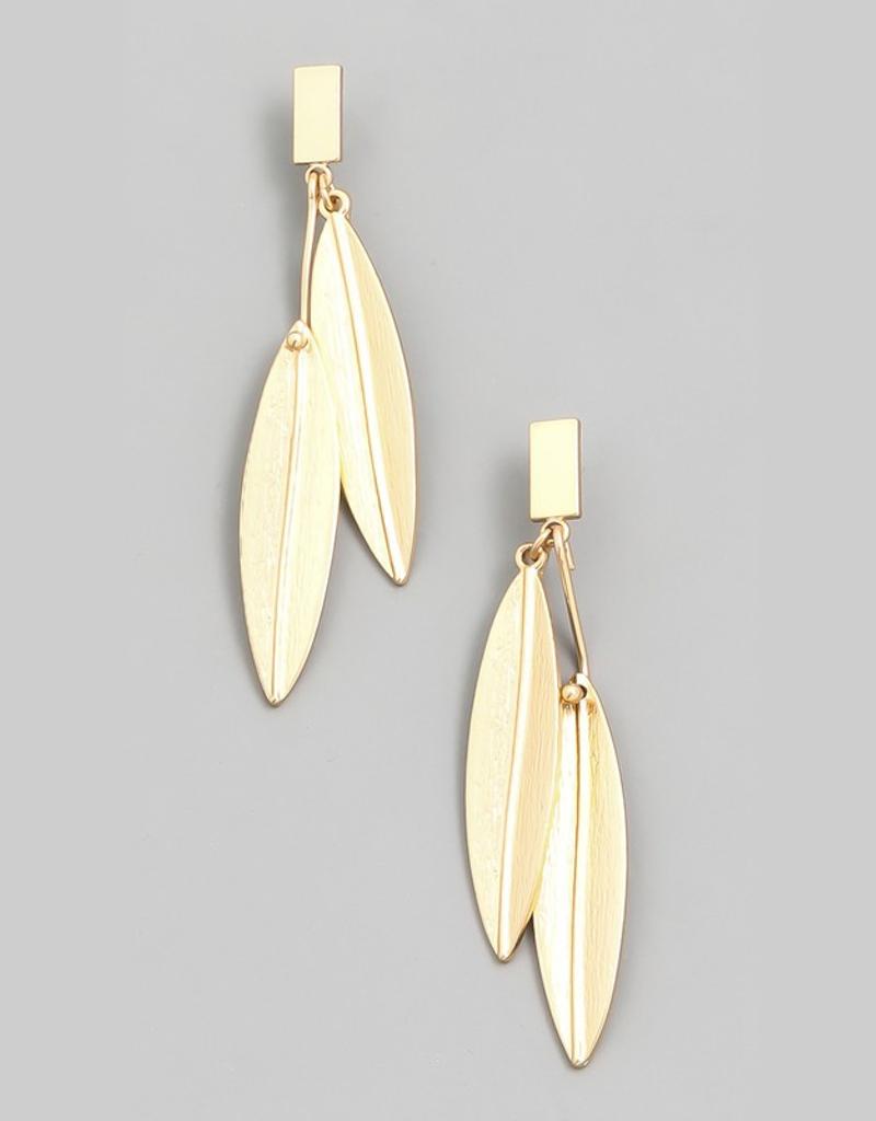 Double Leaf Drop Earrings