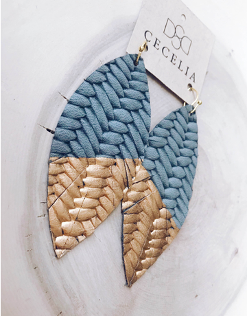 Grey Braided Gold Painted Feather Leather Earrings