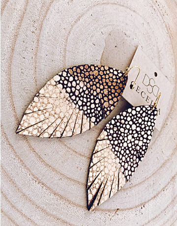 Rose Gold Painted Feather Leather Earrings