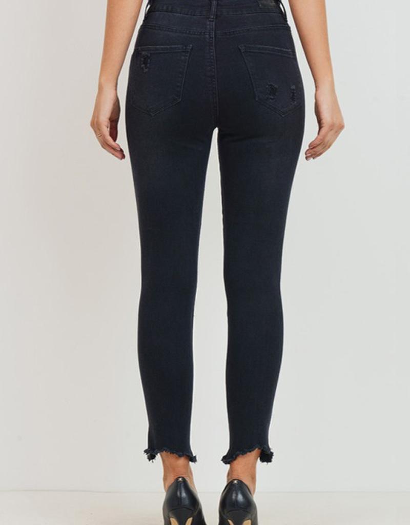 High Waist Raw Hem Skinny Ankle Jeans