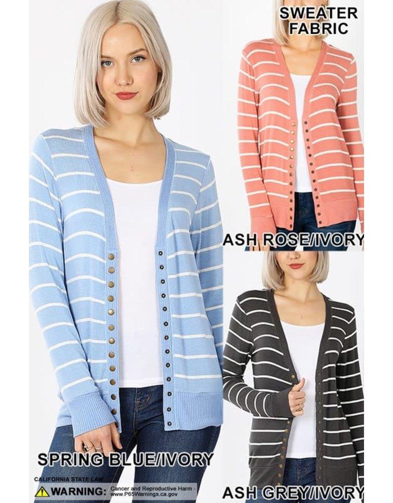 Striped Snap Cardigan Full Sleeve