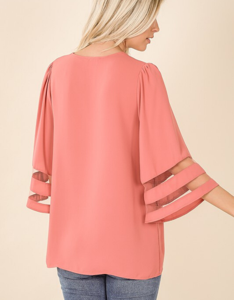 Woven Mesh Panel Bell Sleeve Top