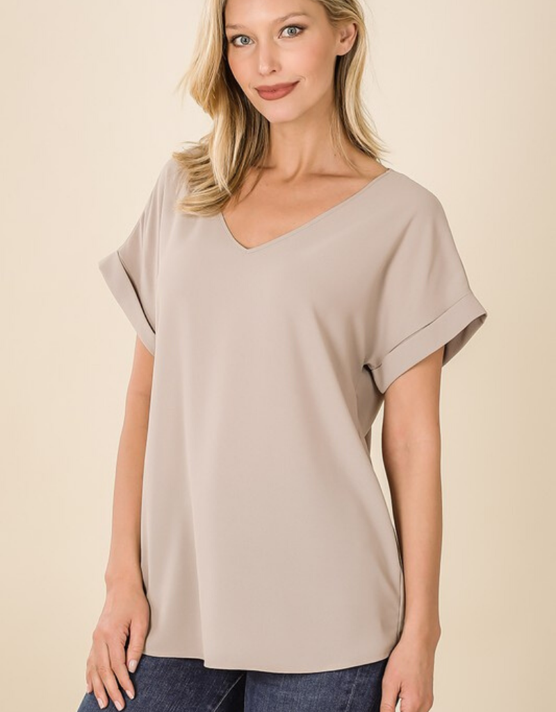 Woven Rolled Sleeve V-Neck Top