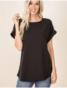 Woven Rolled Sleeve Round Neck Top