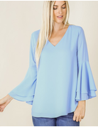 Woven Double Layer Bell Sleeve Top