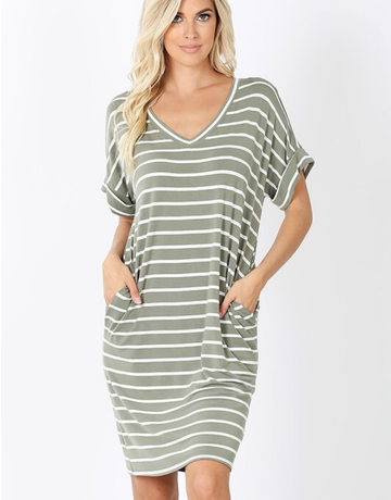 Stripe Rolled Short Sleeve Dress