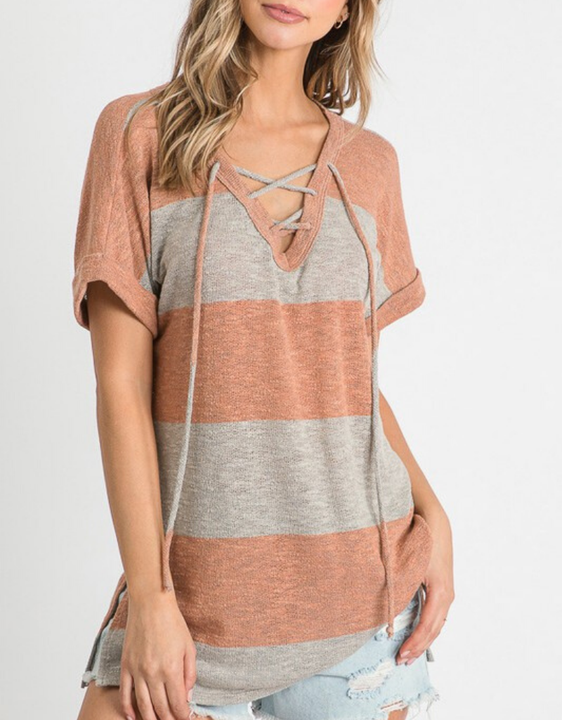 Striped Top With Criss Cross Neckline