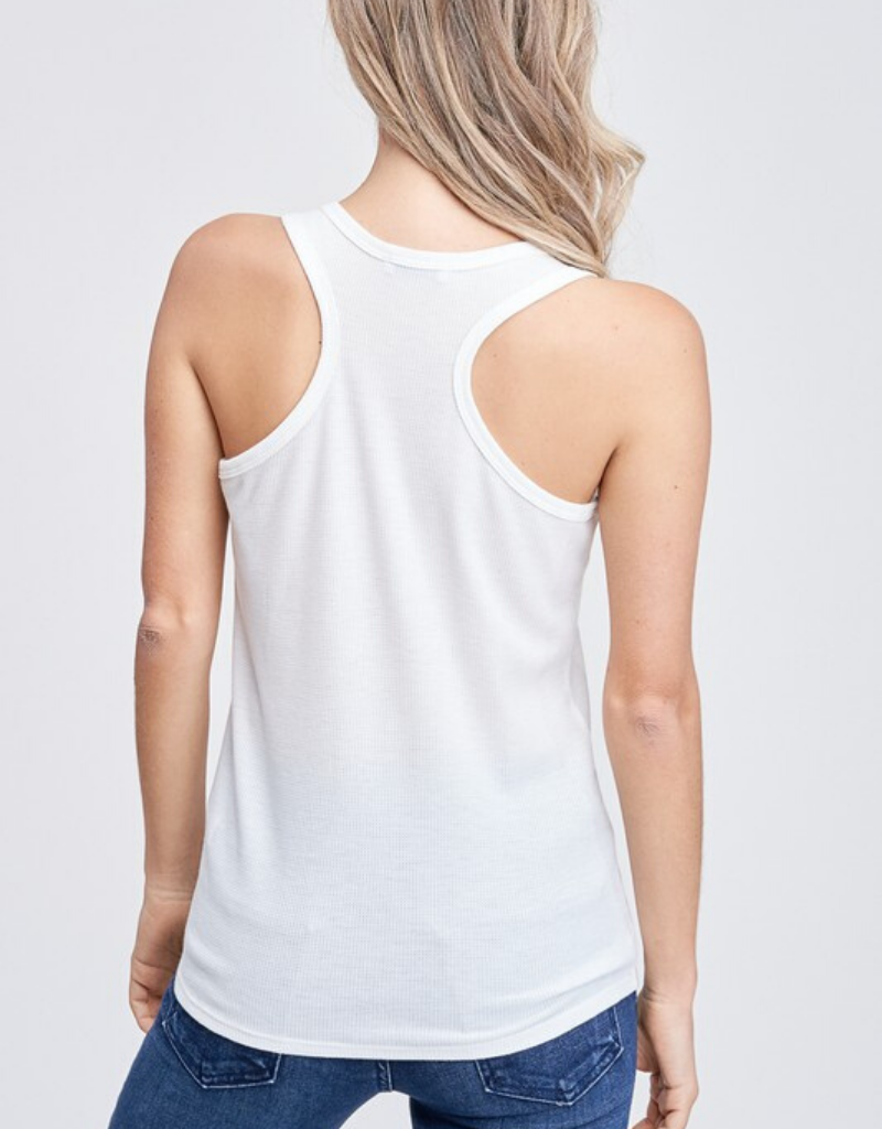 Solid Knit Tank With Buttons