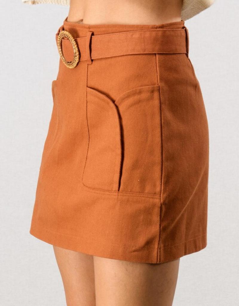 Canvas Tulip Pocket Belted Skirt