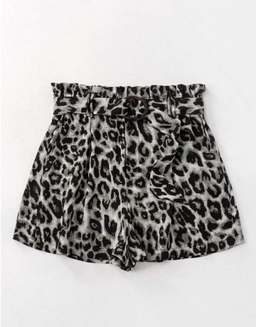 Leopard Buckled Paper Bag Shorts