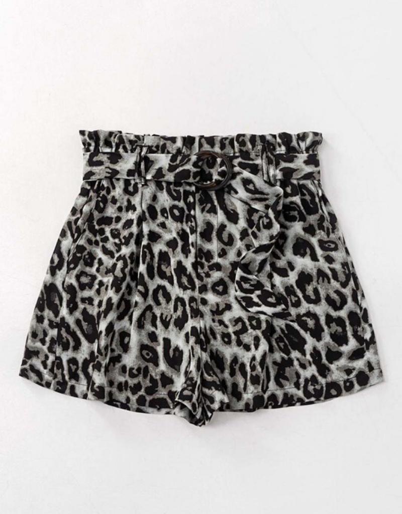 Leopard Buckled Paper Bag Shorts