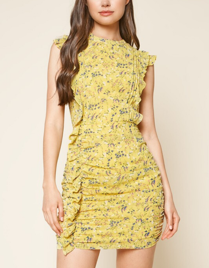 Nola Floral Print Ruched Dress