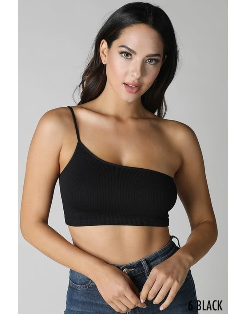 One Shoulder Ribbed Bralette