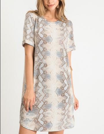 Snake Print Short Sleeve Dress