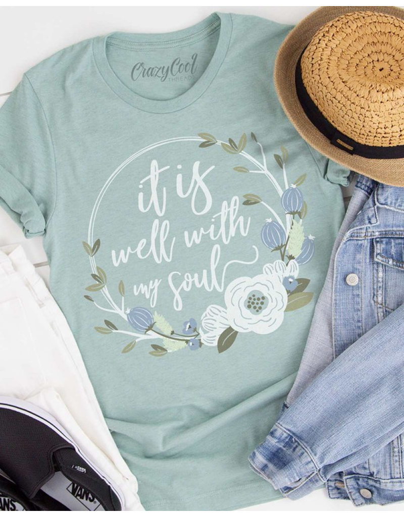 It Is Well With My Soul Floral Tee
