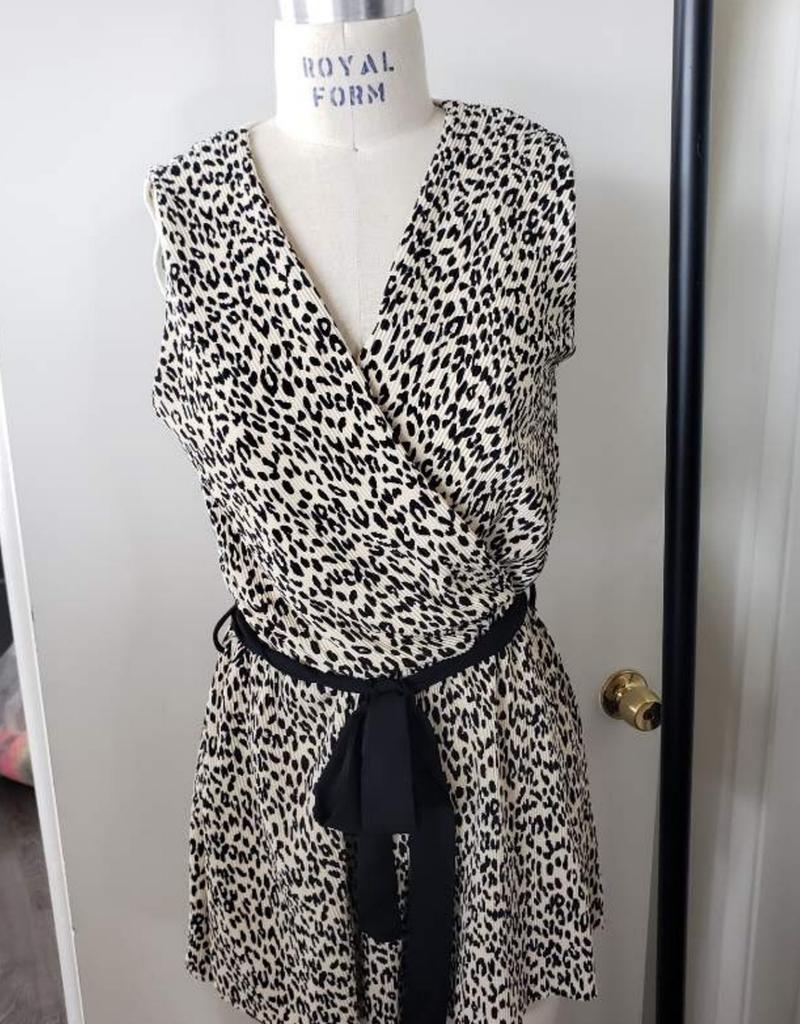 Cheetah Print Belted Romper