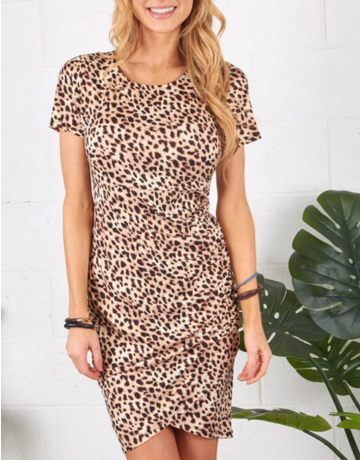 Cheetah Print Ruched Dress