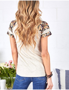 Curvy Solid Knit & Floral Mix Top