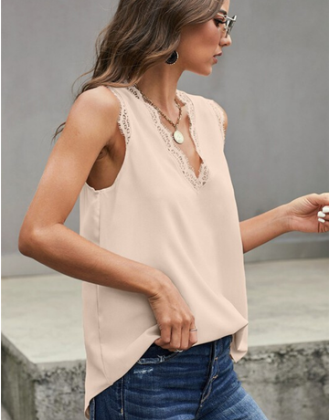 Eyelash Lace V Neck Tank Top