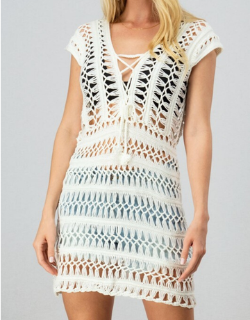 Crochet Knit Lace Up Dress