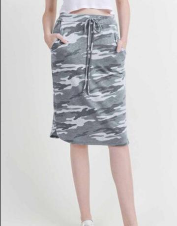 Camo Drawstring Knee Length Skirt