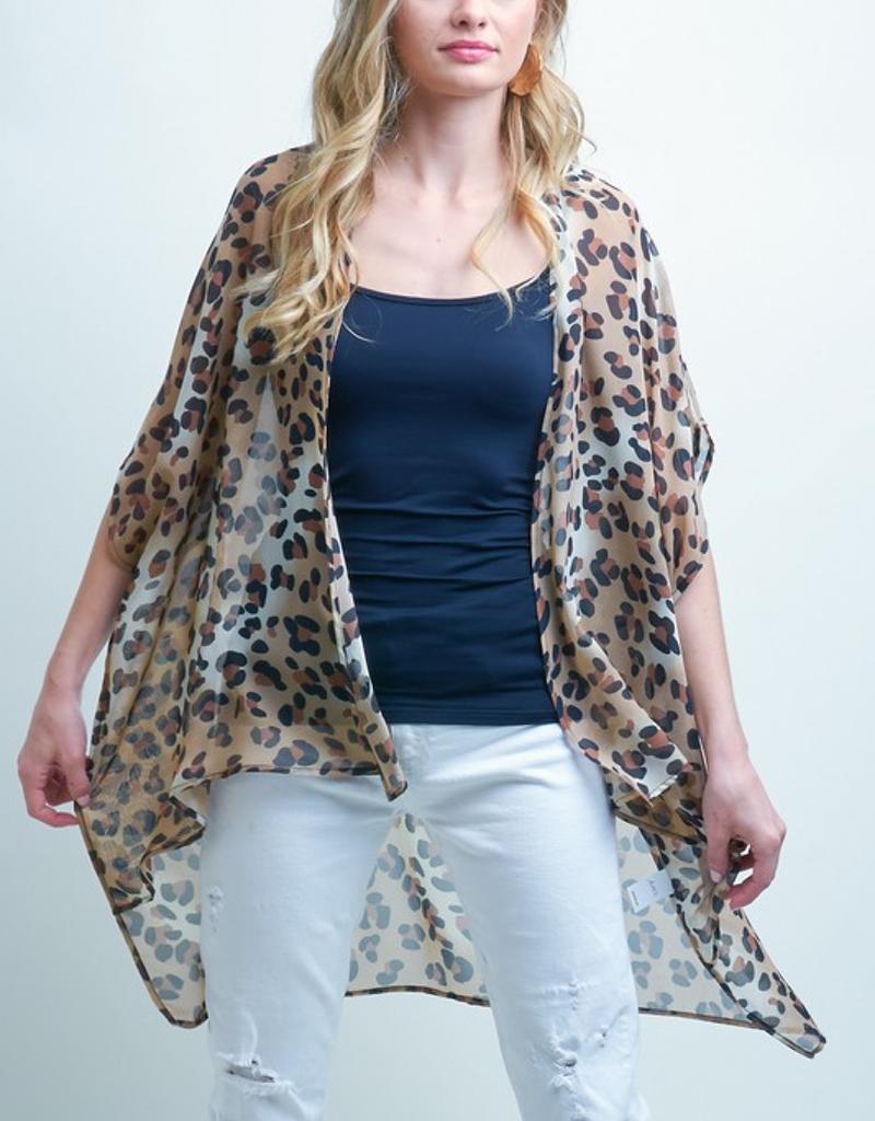 Short Sleeve Leopard Print Kimono