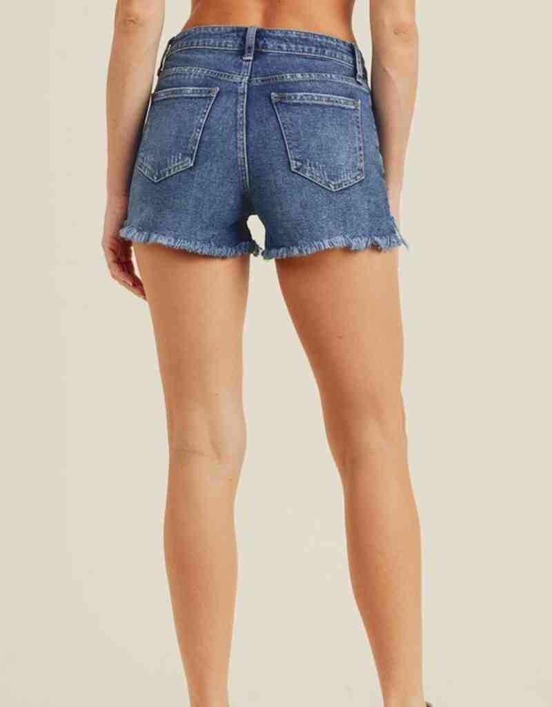 Hi Rise Shorts w/ Uneven Fray Hem