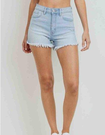 Hi Rise Shorts W/ Fray Hem & Side slit
