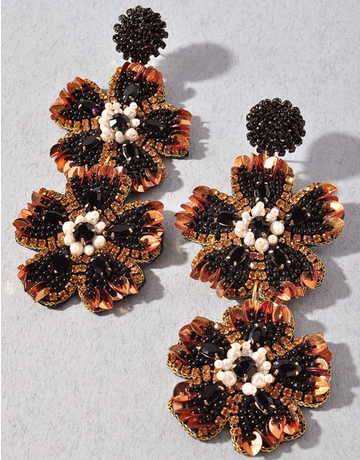 Floral Bling Drop Earring
