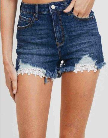 Hi Rise Denim Shorts W/ Lace